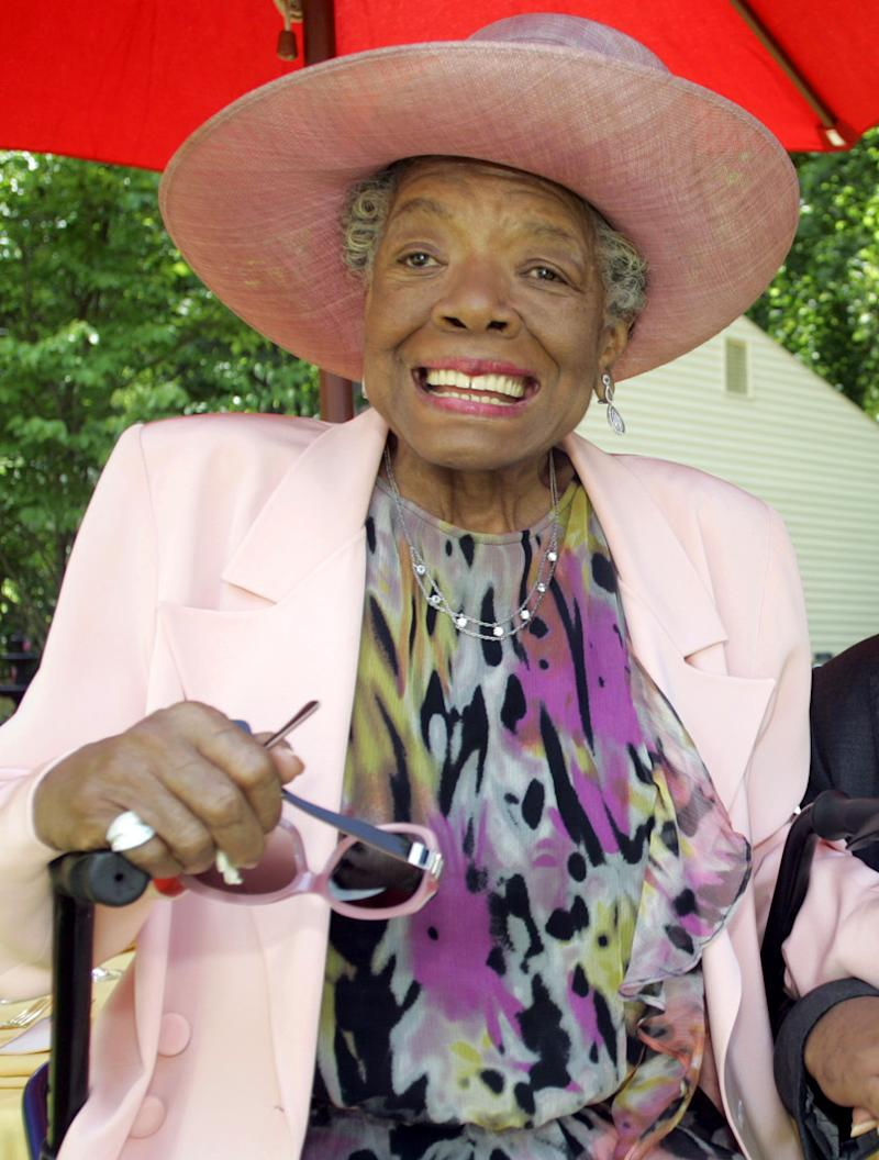 "FILE - In this May 20, 2010 file photo, poet and author Maya Angelou smiles at a garden party at her home in Winston-Salem, N.C. Angelou's latest book, memoir ""Mom & Me & Mom,"" is a sweet ode to ""Lady,"" her mother Vivian Baxter, and ""Momma,"" her paternal grandmother Annie Henderson. (AP Photo/Nell Redmond, file)"
