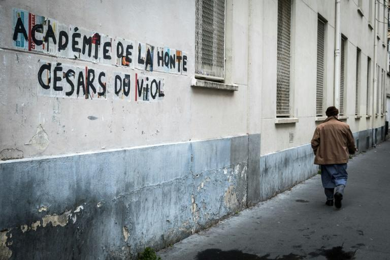 """The writing last year on this Paris wall read """"Academy of shame, Cesars of rape"""" as the Cesar Film Awards gave the highest number of nominations to the new film of French-Polish fillmaker Roman Polanski, accused of sexual assault decades ago."""