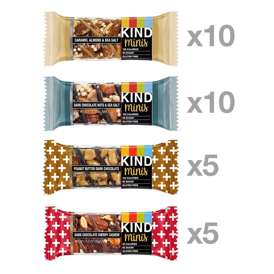 """<p>If you're looking for a quick pick-me-up that won't cause a blood sugar spike, consider KIND minis, says Newgent. """"Along with being low in added sugars, they provide a triple whammy of healthy fat, plant protein, and fiber for notable satiety."""" Their compact size makes them perfect for stashing in a purse, backpack, suitcase, or glove compartment, to0.</p><p><a class=""""link rapid-noclick-resp"""" href=""""https://www.amazon.com/KIND-Minis-Chocolate-Caramel-Almond/dp/B07WW9QSB2?tag=syn-yahoo-20&ascsubtag=%5Bartid%7C10072.g.27072697%5Bsrc%7Cyahoo-us"""" rel=""""nofollow noopener"""" target=""""_blank"""" data-ylk=""""slk:SHOP NOW"""">SHOP NOW</a></p>"""