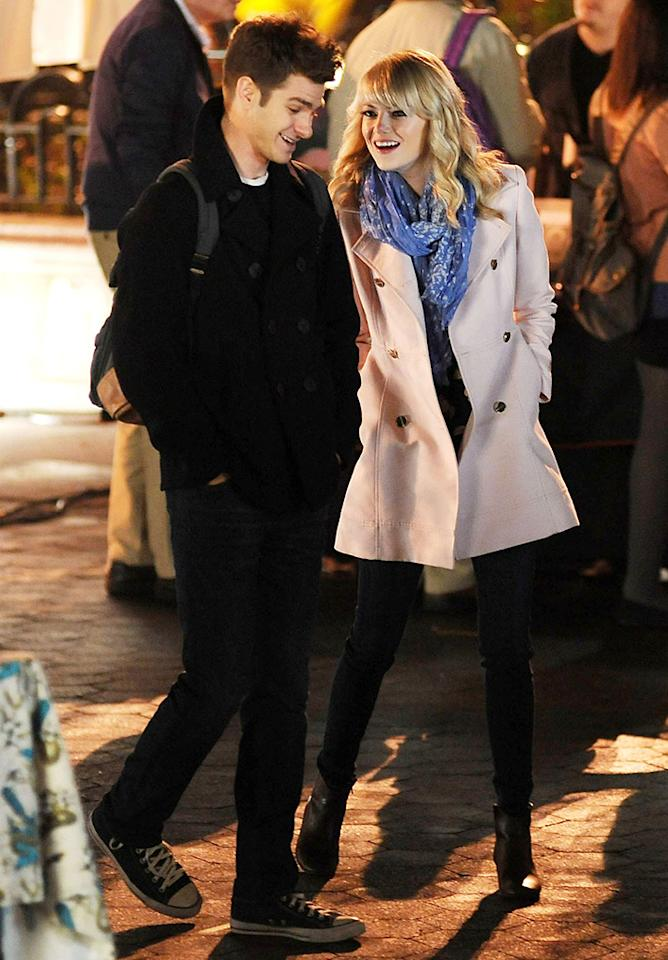 Mandatory Credit: Photo by Everett Collection / Rex USA (1282319f)Andrew Garfield and Emma Stone'The Amazing Spider-Man 2' film set, Times Square, New York, America - 16 Apr 2013