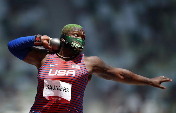 <p>Raven Saunders of the United States competes in the women's shot put final. </p>