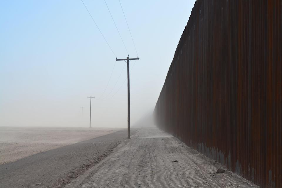 The border wall near San Luis, Arizona, where the president celebrated 200 miles of new construction in June.  (Josh Marcus)