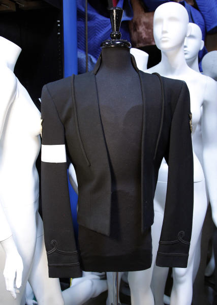 """In this image taken on Thursday, June 21, 2012, Michael Jackson's costume designed by Michael Bush is shown in Los Angeles. Bush, Michael Jackson's longtime costumer, tells the King of Pop's style secrets in a new photo-filled book, """"The King of Style: Dressing Michael Jackson"""" to be released on October 30, 2012. (AP Photo/Jae C. Hong)"""