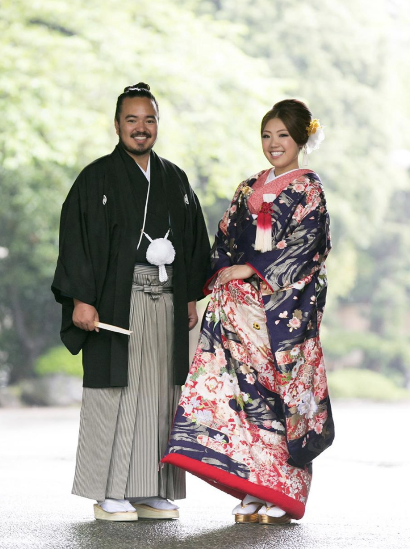 Adam Liaw and his wife Asami Fujitsuka wear traditional Japanese dress on their wedding day in 2012.