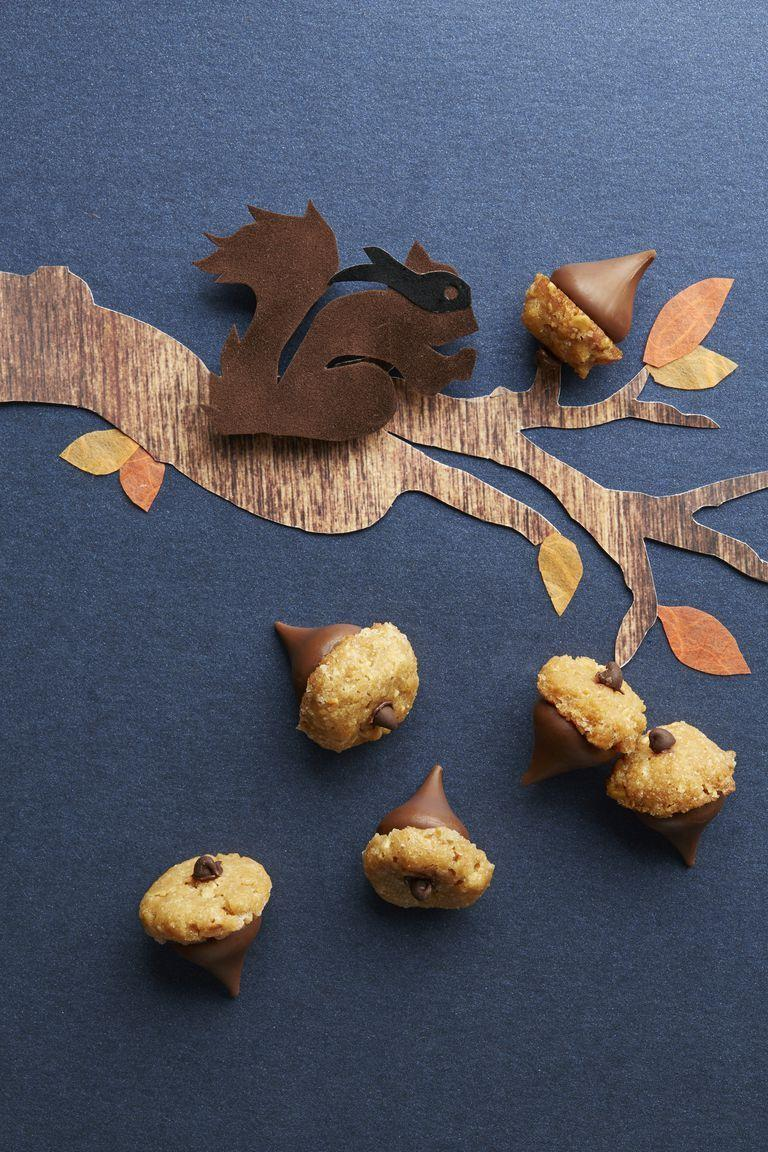 """<p>These darling acorn-shaped treats will be polished off in no time (and are super-easy to make).</p><p><strong><a href=""""https://www.countryliving.com/food-drinks/recipes/a5711/peanut-butter-acorns-recipe-clx1014/"""" rel=""""nofollow noopener"""" target=""""_blank"""" data-ylk=""""slk:Get the recipe"""" class=""""link rapid-noclick-resp"""">Get the recipe</a>.</strong></p>"""
