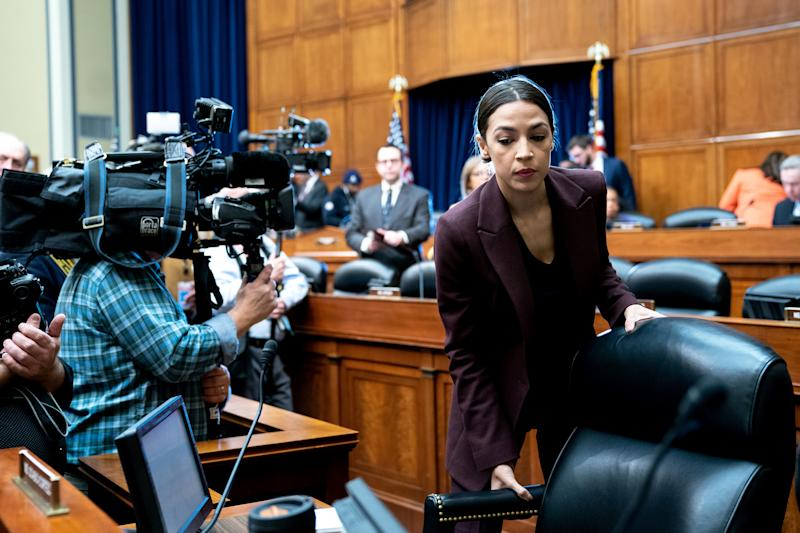 Rep. Alexandria Ocasio-Cortez (D-NY) arrives for a House Oversight Committee hearing on Capitol Hill in Washington, D.C., Feb. 27, 2019. (Erin Schaff/The New York