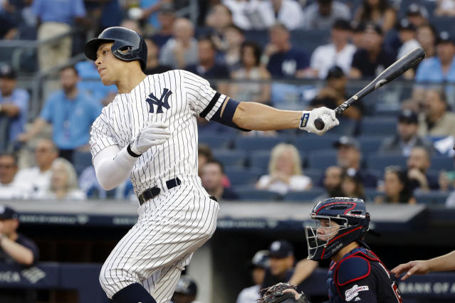 New York Yankees' Aaron Judge follows through on a single during the first inning of a baseball game against the Cleveland Indians, Friday, Aug. 16, 2019, in New York. (AP Photo/Frank Franklin II)