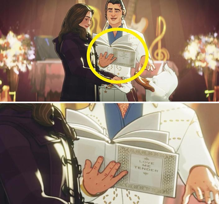 """A close-up of a white book reading """"Love me tender"""" on the front cover"""