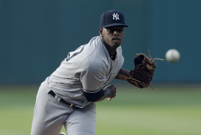 New York Yankees starting pitcher Luis Severino delivers in the first inning of the team's baseball game against the Cleveland Indians, Thursday, July 12, 2018, in Cleveland. (AP Photo/Tony Dejak)