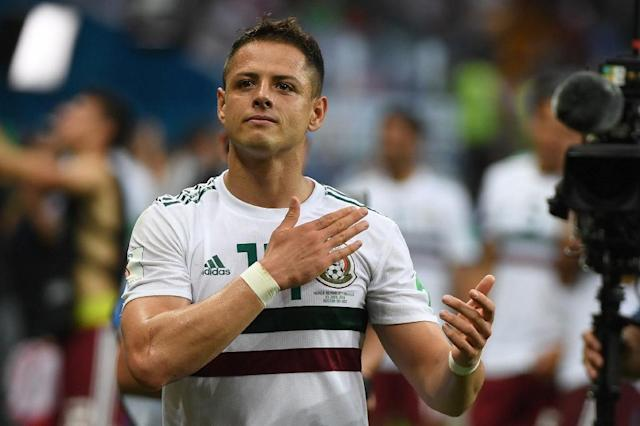 Javier Hernandez scored his 50th international goal for Mexico (AFP Photo/Khaled DESOUKI)