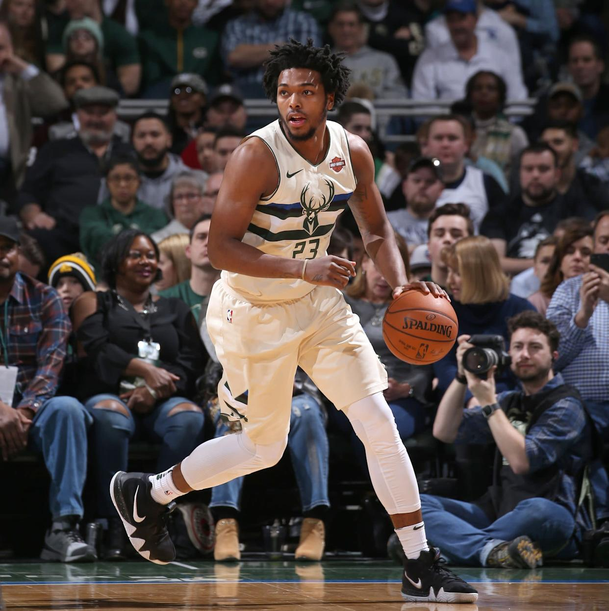 Brown, a guard for the Milwaukee Bucks, is seen playing against the New Orleans Pelicans in February. On Tuesday he filed a lawsuit against Milwaukee's police department and city. (Photo: Gary Dineen via Getty Images)