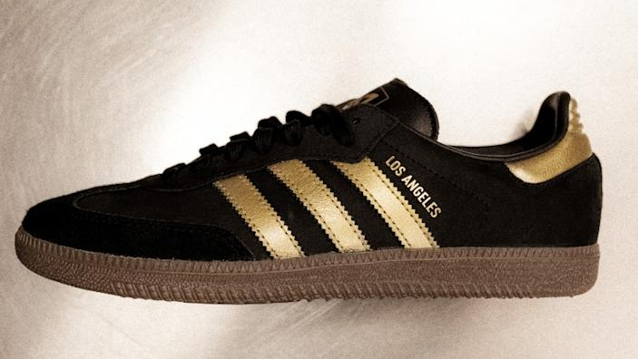 """The Adidas Originals X LAFC Street by Street Samba sneakers ($90), which drop at retail stores and online on Aug. 22, mark the first MLS club partnership on the soccer-inspired style that first launched in 1950. <span class=""""copyright"""">(Adidas Creators Network)</span>"""