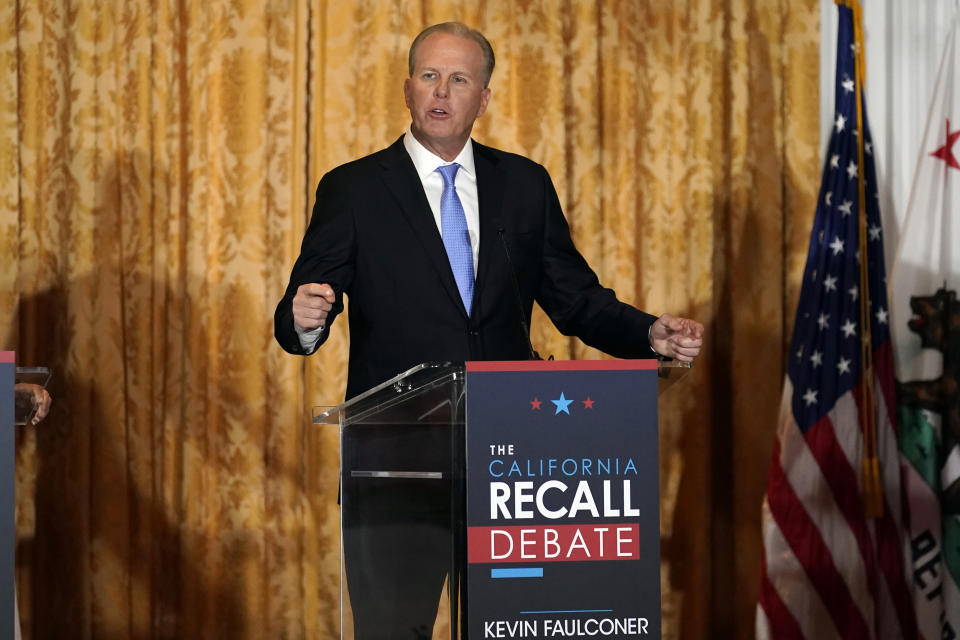 Republican candidate for California Governor Kevin Faulconer speaks during a debate at the Richard Nixon Presidential Library Wednesday, Aug. 4, 2021, in Yorba Linda, Calif. California Gov. Gavin Newsom faces a Sept. 14 recall election that could remove him from office. (AP Photo/Marcio Jose Sanchez)