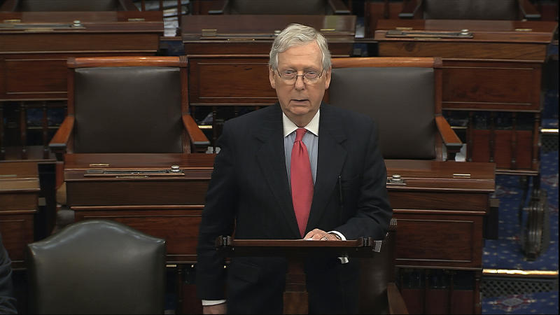 In this image from video, Senate Majority Leader Mitch McConnell, R-Ky., speaks on the Senate floor at the U.S. Capitol in Washington, Wednesday, March 25, 2020. (Senate Television via AP)