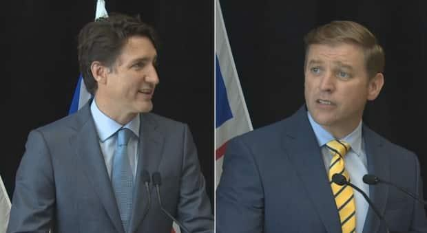Prime Minister Justin Trudeau, left, and Newfoundland and Labrador Premier Andrew Furey spoke briefly Wednesday to say the two sides have reached a deal on Muskrat Falls to stave off stark financial implications for the province. (CBC - image credit)