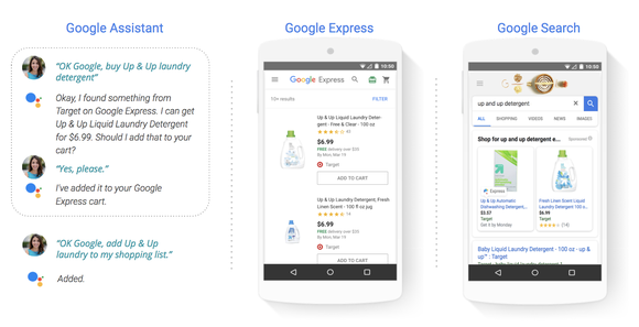Using Shopping Actions with Google Assistant, Google Express, and Google Search.