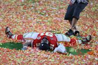 MIAMI, FLORIDA - FEBRUARY 02: Derrick Nnadi #91 of the Kansas City Chiefs celebrates after winning Super Bowl LIV against the San Francisco 49ers at Hard Rock Stadium on February 02, 2020 in Miami, Florida. (Photo by Al Bello/Getty Images)