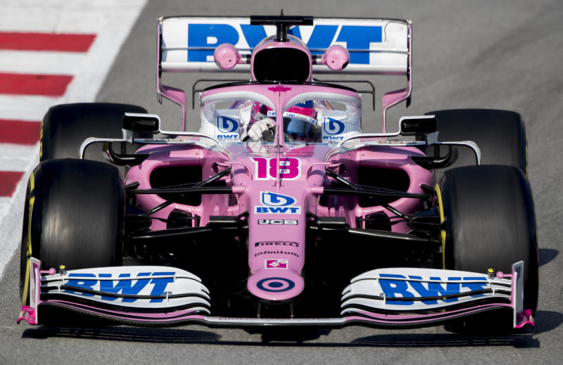 Racing Point Lance Stroll steers his car during the Formula One pre-season testing session at the Barcelona Catalunya racetrack in Montmelo, outside Barcelona, Spain, Friday, Feb. 21, 2020. (AP Photo/Joan Monfort)