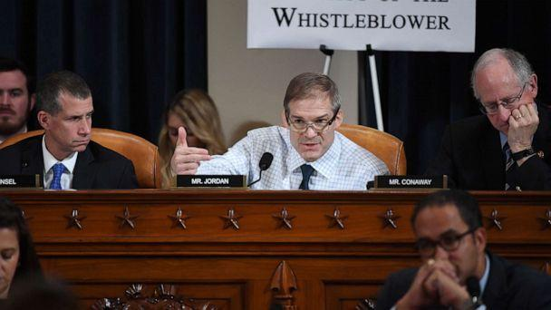 PHOTO: Rep. Jim Jordan asks questions as Fiona Hill, the former top Russia expert on the National Security Council, and David Holmes, a State Department official testify during the House Intelligence Committee hearing, Nov. 21, 2019. (Matt McClain/The Washington Post/AFP via Getty Images)