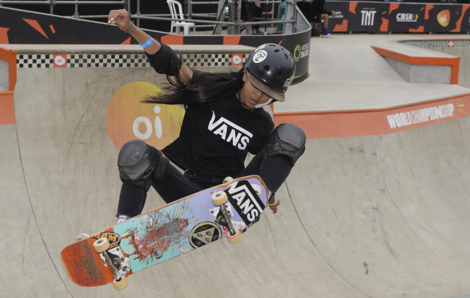FILE - In this Sept. 13, 2019, file photo, Kokona Hiraki of Japan competes during the Skate Park World Championship in Sao Paulo, Brazil. Skating is one of four debut Olympic sports, along with karate, surfing and sport climbing. (AP Photo/Andre Penner, File)