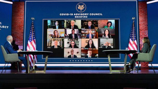 PHOTO: President-elect Joe Biden and Vice President-elect Kamala Harris speak with the Covid-19 Advisory Council during a briefing at The Queen theater on Nov. 9, 2020 in Wilmington, Del. (Angela Weiss/AFP via Getty Images)