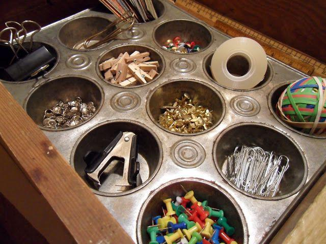"""<p>A muffin tin provides a handy single-step solution to rallying the bits and baubles that live in your junk drawer, home office, or vanity (try it with earrings, rings, and bracelets, too).</p><p><a href=""""http://tatteredstyle.blogspot.com/2011/04/organize.html"""" rel=""""nofollow noopener"""" target=""""_blank"""" data-ylk=""""slk:See more at Tattered Style »"""" class=""""link rapid-noclick-resp""""><em>See more at Tattered Style »</em></a></p>"""