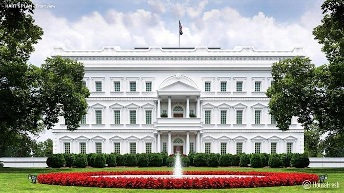 Front view of the White House designed by Philip Hart.