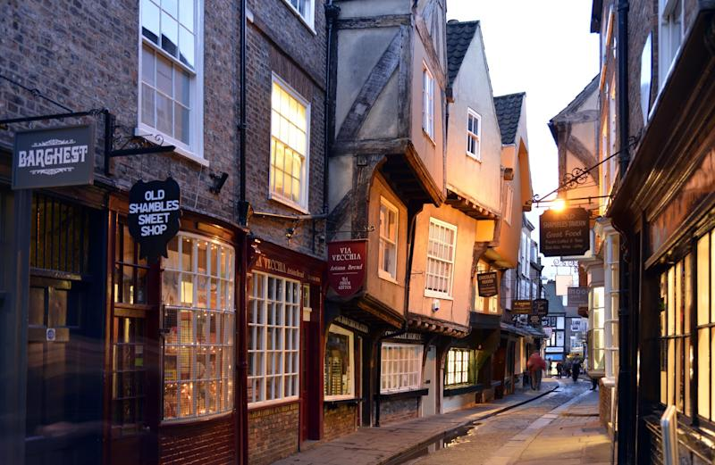 Timber-framed buildings characterise The Shambles, a 14th-century street in York