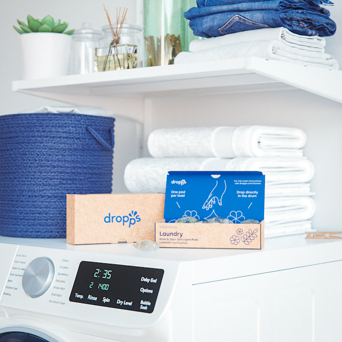 """Whether you're in the market for laundry or dish detergent, Dropps had you covered with biodegradable, dissolvable capsules. Its products ship in recycled cardboard packaging that is fully compostable and recyclable, and the cleaners in the pods are plant-based and dye-free to boot (for full transparency—no pun intended!—you can check out the list of ingredients <a href=""""https://www.dropps.com/blogs/ingredients"""" rel=""""nofollow noopener"""" target=""""_blank"""" data-ylk=""""slk:here"""" class=""""link rapid-noclick-resp"""">here</a>). Dropps has three different types of laundry pods for all your fabric needs, whether you're doing a heavy load or need something a little more delicate for babies and pets, and the brand also has fabric softener and dryer balls. $24, Dropps. <a href=""""https://www.dropps.com/products/stain-odor-unscented-laundry-detergent-pods"""" rel=""""nofollow noopener"""" target=""""_blank"""" data-ylk=""""slk:Get it now!"""" class=""""link rapid-noclick-resp"""">Get it now!</a>"""