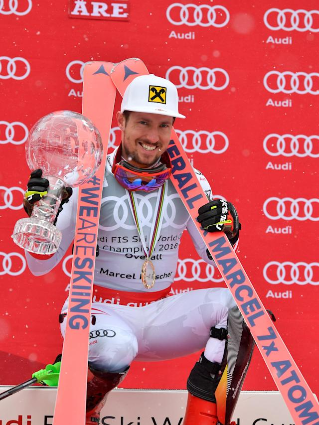 Alpine Skiing - FIS Alpine Skiing World Cup Finals 2018 - Are, Sweden - March 18, 2018. Marcel Hirscher of Austria poses with the World Cup overall trophy. TT News Agency/Anders Wiklund/ via REUTERS ATTENTION EDITORS - THIS IMAGE WAS PROVIDED BY A THIRD PARTY. SWEDEN OUT. NO COMMERCIAL OR EDITORIAL SALES IN SWEDEN