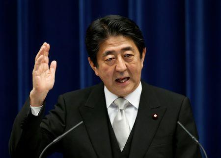 Japan's Prime Minister Shinzo Abe speaks at a news conference at his official residence in Tokyo