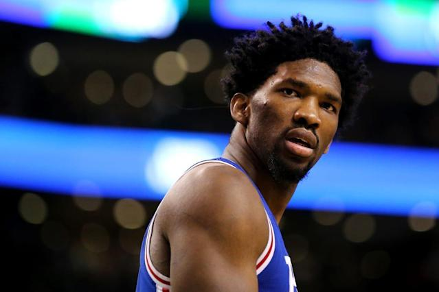 "<a class=""link rapid-noclick-resp"" href=""/nba/players/5294/"" data-ylk=""slk:Joel Embiid"">Joel Embiid</a> will remain on a minutes restriction, whether he likes it or not. (Getty Images)"