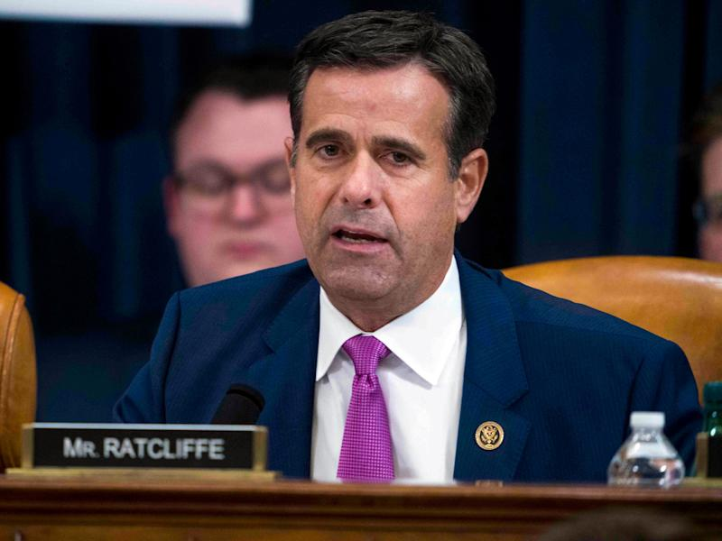 FILE - In this Dec. 9, 2019, file photo, Rep. John Ratcliffe, R-Texas, during the House impeachment inquiry hearings in Washington. Trump has nominated Ratcliffe again to be nation's top intelligence official, (Doug Mills/The New York Times via AP, Pool)