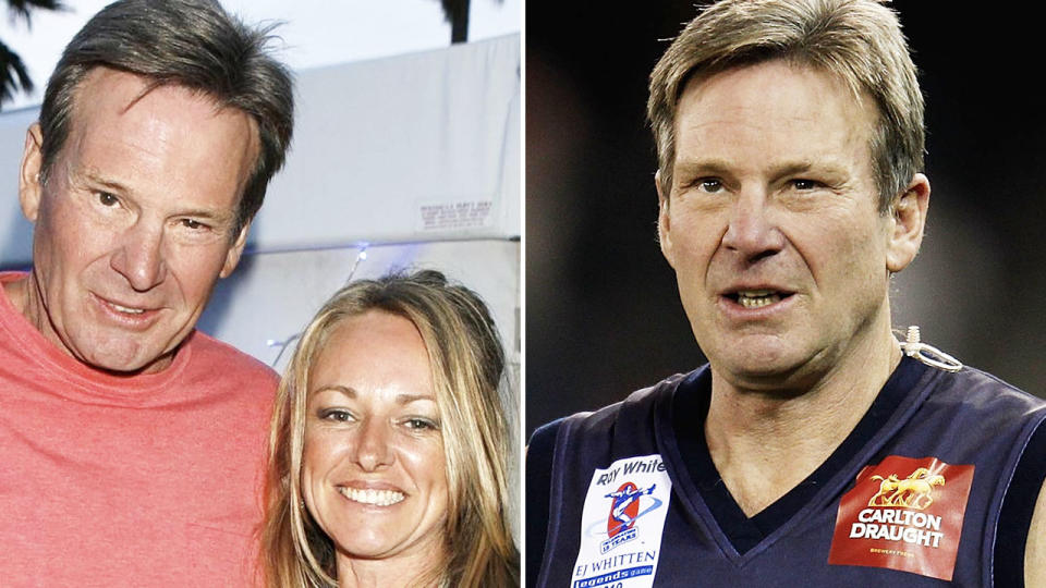 Sam Newman, pictured here with wife Amanda Brown.