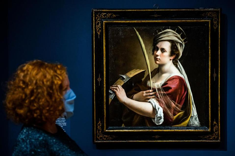 'There are great artists who were also mothers' ... part of the Italilan painter Artemisia Gentileschi's Self-Portrait as Saint Catherine of Alexandria.