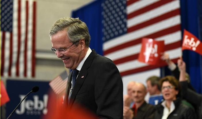 <p>Republican presidential candidate Jeb Bush speaks to supporters at his New Hampshire presidential primary night rally in Manchester, N.H., on Feb. 9, 2016. (Faith Ninivaggi/Reuters)</p>