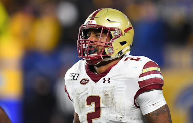 Boston College running back A.J. Dillon could turn into a value pick for the Green Bay Packers. (Photo by Joe Sargent/Getty Images)