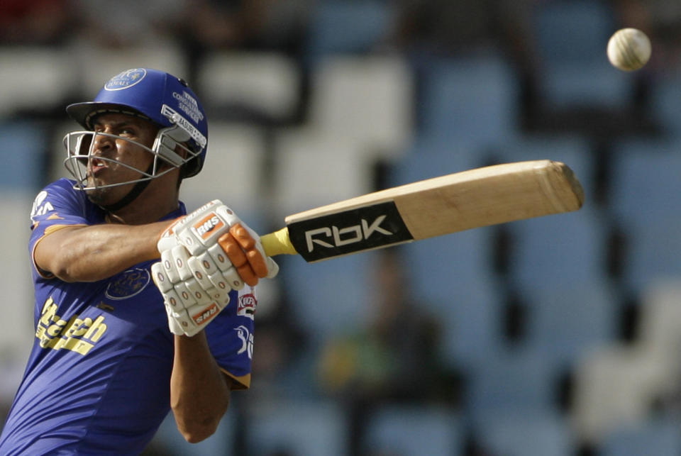 Yusuf Pathan of the Rajasthan Royals plays a shot during the 2009 Indian Premier League (IPL) T20 cricket tournament against the Bangalore Royal Challengers in Centurion May 7, 2009. REUTERS/Siphiwe Sibeko (SOUTH AFRICA SPORT CRICKET)