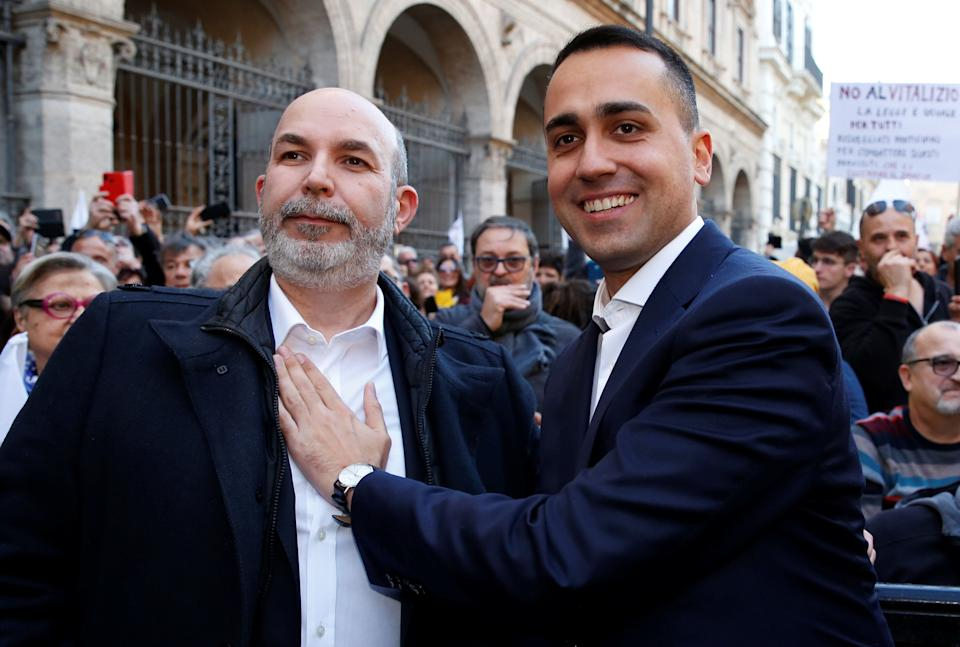 Italy's Foreign Minister Luigi di Maio and Italy's 5-Star Movement's new caretaker leader Vito Crimi take part in an anti-government protest held by Italy's 5-Star Movement in Rome, Italy, February 15, 2020. REUTERS/Remo Casilli (Photo: Remo Casilli / Reuters)