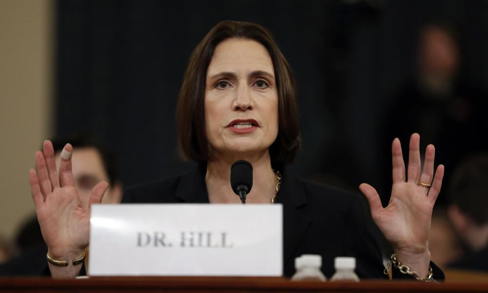 """<span class=""""element-image__caption"""">Fiona Hill testifies before the House intelligence committee.</span> <span class=""""element-image__credit"""">Photograph: Andrew Harnik/AP</span>"""