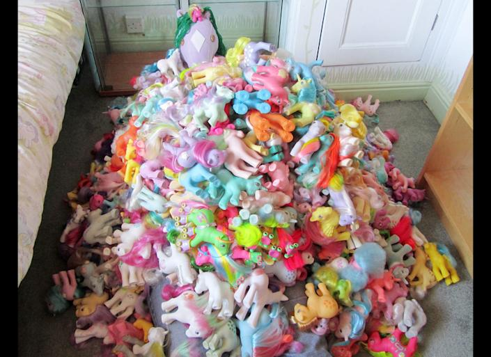 Some of Sarah's ponies. Sarah Butler, 28 from Barnsley, Yorkshire has been collecting 1980's My Little Ponies for 24 years and now has over 1,000 of them as well as having a themed room in her house including My Little Pony curtains, bedspread and other collectables.
