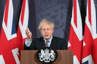 British PM Johnson holds news conference on Brexit trade deal in London