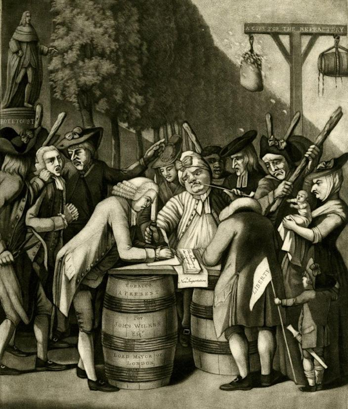 """<span class=""""caption"""">In a 1775 cartoon, a British cartoonist mocks how wealthy elites were compelled by ordinary Americans to respect trade and price regulations.</span> <span class=""""attribution""""><a class=""""link rapid-noclick-resp"""" href=""""https://commons.m.wikimedia.org/wiki/File:The_Alternative_of_Williams-burg_1775.jpg"""" rel=""""nofollow noopener"""" target=""""_blank"""" data-ylk=""""slk:Philip Dawe/Wikimedia Commons"""">Philip Dawe/Wikimedia Commons</a></span>"""