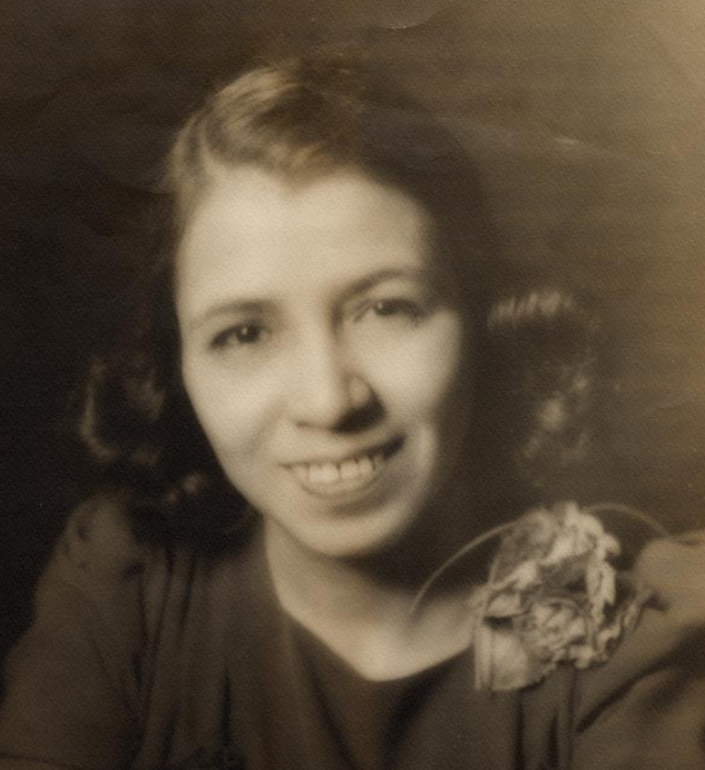 A circa 1930s headshot of Clotilde Arias, who worked in advertising in New York City and composed the Spanish translation of the Star-Spangled Banner that is
