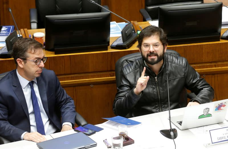 Deputy Gabriel Boric speaks during a session at the congress in Valparaiso