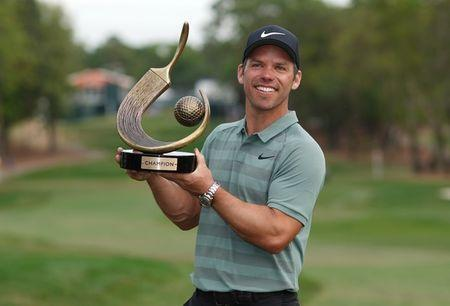 Mar 11, 2018; Palm Harbor, FL, USA; Paul Casey poses with the trophy after winning the Valspar Championship golf tournament at Innisbrook Resort - Copperhead Course. Jasen Vinlove-USA TODAY Sports