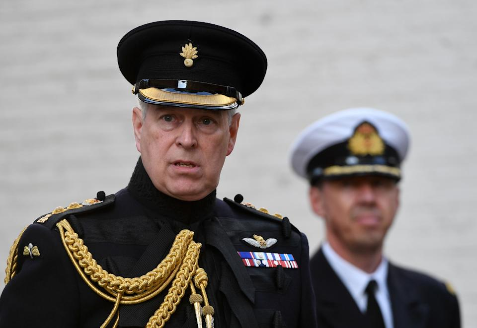Britain's Prince Andrew, Duke of York, wears military uniform at a ceremony commemorating the 75th anniversary of the liberation of Bruges on September 7, 2019 in Bruges