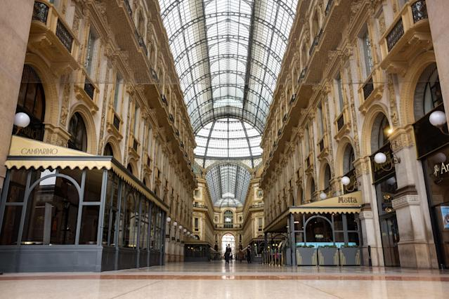 An empty Galleria Vittorio Emanuele II during the first day of quarantine for Milan, Italy on March 9, 2020. (Credit: Mairo Cinquetti/NurPhoto via Getty Images)