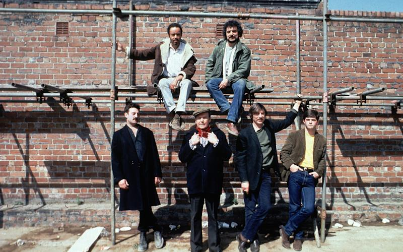 Angelis, top right, in Boys From The Black Stuff; Bernard Hill is front row, left - Television Stills