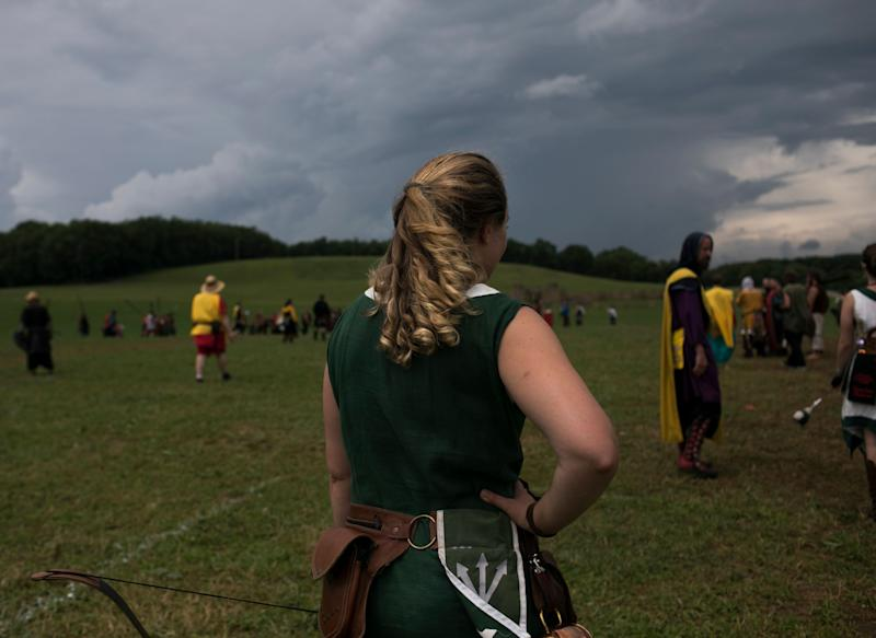 Gretchen Arnold stands on the battlefield at Ragnarok. (Photo: Maddie McGarvey for HuffPost)
